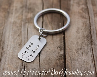 My Dad My Hero Keyring handstamped hand stamped stainless keyring keychain Father's Day gift customers Mother's dayFather's Day Gift
