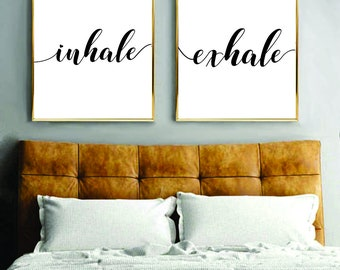Printable Wall Art Inhale Exhale Print, Art, Instant Download, Printable Art, Printable Quotes, Home Decor, Yoga, Motivational