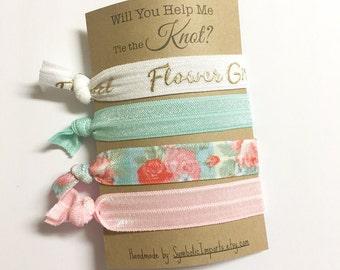 Will You be my Flower Girl Card - Flower Girl Gift - Flower Girl Proposal - Flower Girl Hair Tie Favors - Gift for Flower Girl