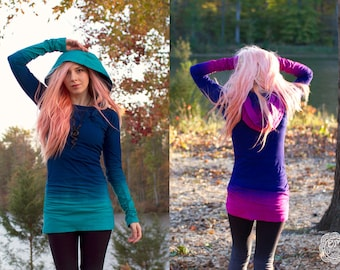 Colorful Hand Dyed Hoodie Dress CUSTOM COLORS Created by You by Om Beautiful
