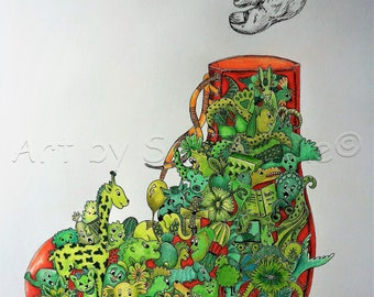 Red Shoe-doodles, doodle art, pictures, drawing, surreal, coloured, animals, print, limited edition