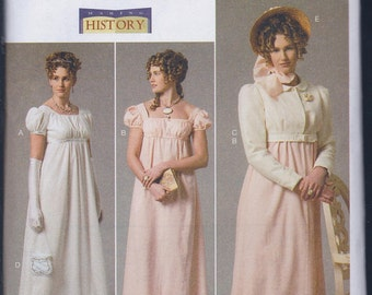 Butterick 6074 Misses Women's Regency Jane Austen Dress Spencer Jacket UNCUT Sewing Pattern