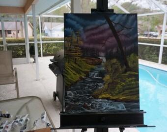 Bob Ross Style Original - Black Waterfall