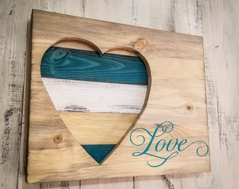 MULT. COLOR OPTIONS! Personalize! Wood Heart Wall Art Decor Distressed Rustic Love- Custom Make Your Own