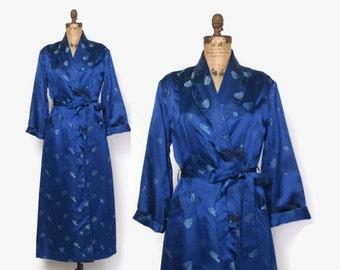 Vintage 60s SILK ROBE / 1960s Cobalt Blue Silk Floral Brocade Belted Dressing Gown L - XL
