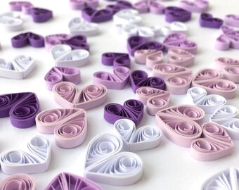 Quilled Hearts Paper Quilling Art Confetti Scatter Ornaments Gifts Fillers Easter Mothers Day Baby Bridal Shower Wedding Purple White