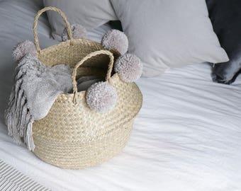 Handmade Pom Pom Seagrass Belly Basket - Storage / Decor / Plant Stand / Gift
