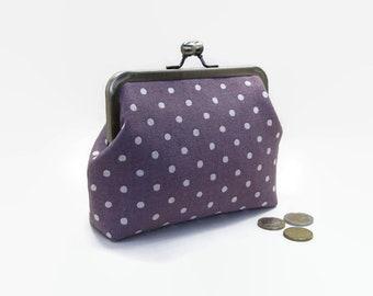 Metal Frame Purse / Metal Frame Clutch / Clutch purse / bag / Kisslock 6 inch - Japanese Linen Purple Dots and Green Dandelions