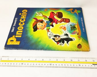 Walt Disney's Pinocchio circa 1971. Big Deluxe Golden Book. Vintage children's book.Beautiful vibrant colors. Nursery decor. New Baby Gift