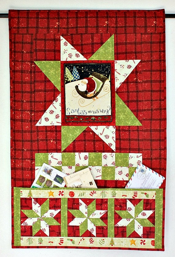 Christmas Card Holder Quilted Wall Hanging Pocket Organizer