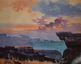 Vintage Sky & Cliff Scene 20x24 Canvas Print - Artist Signed - Limited to 2500