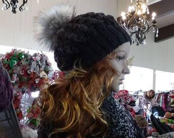 Black and grey shouchy hat tam faux fur pom pom Knits by Karen Colorado