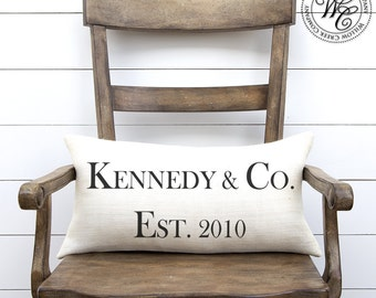 Tiffany and Co, tiffany and company, farmhouse decor, Family Name, Home Decor, Personalized Pillow, Burlap Pillow, Engagement Gift,
