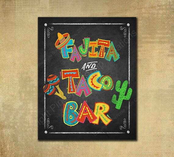 Fiesta Fajita and Taco Bar Printed chalkboard looking sign, Fiesta party, graduation sign, wedding sign, Fiesta Grad sign, birthday sign