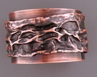 Rustic Fold-formed Copper Cuff Bracelet