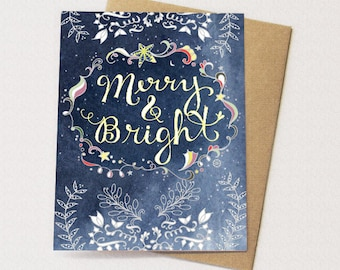 Starry Christmas Greeting Card - Merry & Bright Card, Paper goods, Stationery, Stars, Neutral Holiday Card