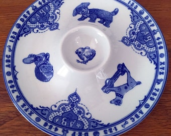 Spode Edwardian Childhood // Egg plate // Blue and White china