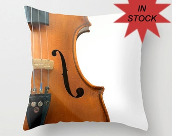 Throw Pillow Cases Handmade in Canada, Gift for Artists, Violin Musical Instrument Home Décor, Recording Studio Violin Pillow Cover