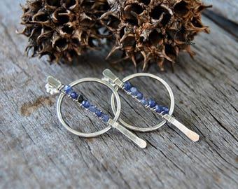Iolite Earrings, Iolite Stud Earrings, Sterling Silver Earrings, Silver Stud Earrings