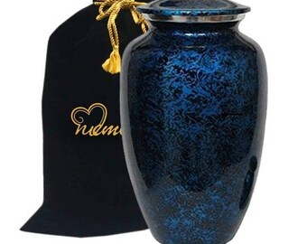 Memorials4u Forest Blue Cremation Urn for Human Ashes - Adult Funeral Urn Handcrafted - Affordable Urn for Ashes - Deal