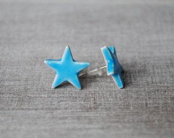 Star Stud Earrings Blue ceramic 2.7 cm