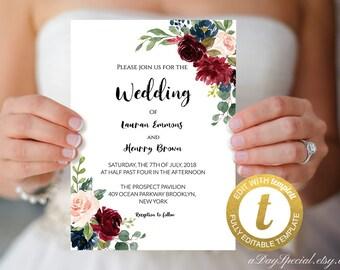 All Editable Burgundy Navy Floral Wedding Invitation Template, Printable Double Sided Bridal Shower Invite, Vistaprint, Edit at Templett#122