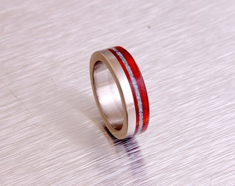 turquoise mens ring titanium ring with red heart wood wedding ring turquoise wedding ring