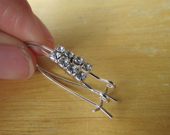 5 Pairs of Rhinestone Silver Kidney Ear Wires,Silver Kidney Ear Wires