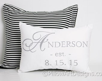 Wedding Date Pillow with Name Est Date White Cotton 9 X 13 Made in Canada