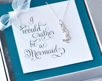 Mermaid Necklace w/ gift box, Mermaid Necklace, Charm Necklace, Mermaid Charm, I'd Rather Be A Mermaid, Mermaid Jewelry, Gift For Her