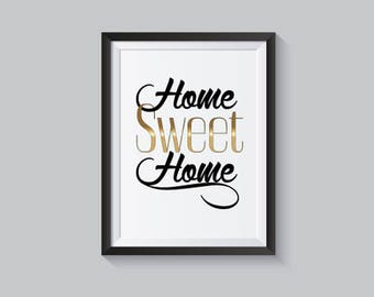 Home Sweet Home, Instant Download, Wall Art Printable, Poster inspirational Quote Digital Art, Frame Art Design, Nursery Home Wall Decor