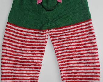 Knit Elf Pants, Christmas Pants, Green Elf Pants, Toddler Elf Pants (Size: 4-5T/KEP-004)