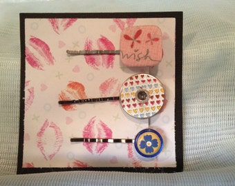 """Hair Pins, Hair Accessories, Hair Jewelry, 3 Hair Pins, Pink """"wish"""", Metal Eyelet with Hearts, and Blue Button, Bobby Pin Ready to Ship RTS"""