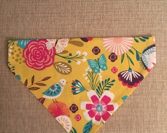 Spring/Yellow, Purple, Pink and Blue Flowers, Birds & Butterflies/Over the Collar Bandana