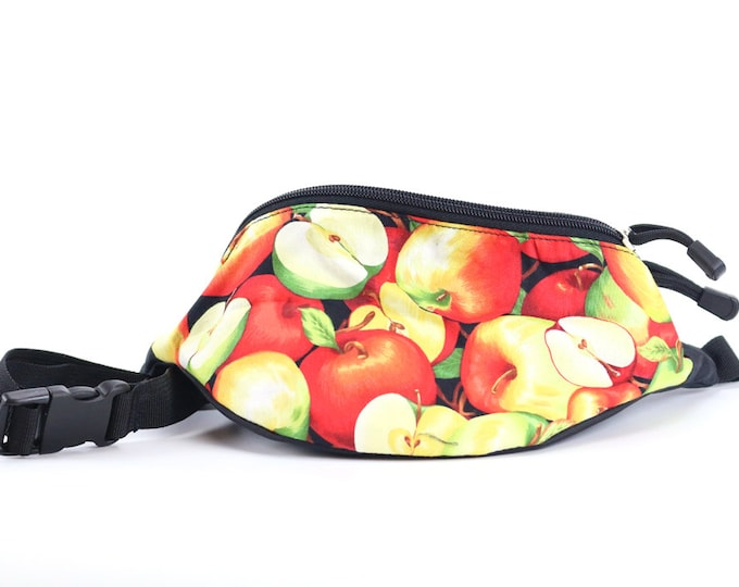 Fanny pack Apple Farm fabric - Cute  - Hip Waist Bag for travel, sport, and hiking with 2-zippered compartments