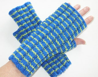 Blue and Green Striped Fingerless Gloves / Wool and Acrylic / Texting Gloves