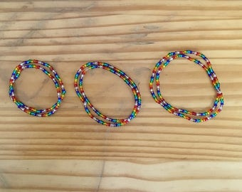 Rainbow stretchy beaded bracelet/necklace