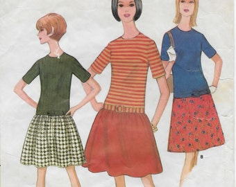 A Low-Waisted, Contrast Short Sleeve Bodice, A-Line or Gathered Skirt Dress Sewing Pattern for Women: Retro Sizes 10 & 12 • McCall's 8426