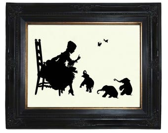 Silhouette Art Print Girl reads to Baby Elephants Victorian Steampunk Art Print Nursery Book Library Paper Cut