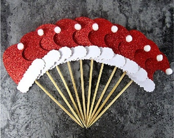 10 x Glitter Red & White Santa Hat Cupcake Picks, Christmas Party Cake Toppers, Dessert Party Décor, Xmas Food Picks