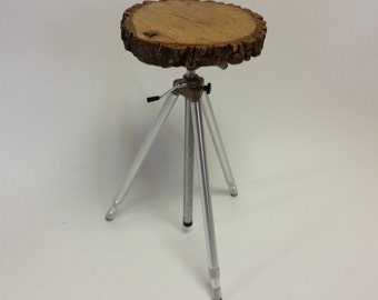 Tree Slice Tripod Table Assemblage