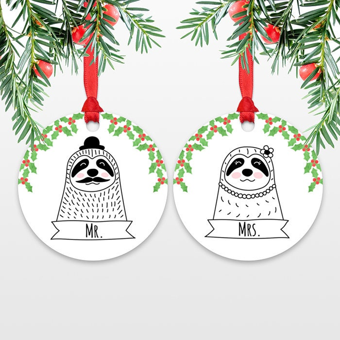 Mr and Mrs Sloth Personalized Wedding Christmas Ornaments for Bride ...