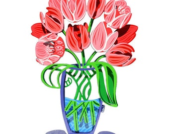 A pink large bouquet of Tulips