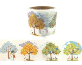 30mm Detailed Four Seasons Trees Wide Washi Tape - 2336