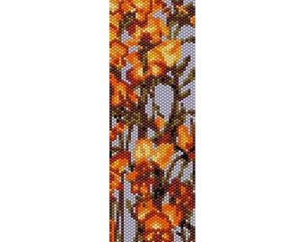 Botanical 4 Peyote Bead Pattern, Bracelet Cuff, Bookmark, Seed Beading Pattern Miyuki Delica Size 11 Beads - PDF Instant Download