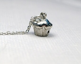 Small Cupcake Charm Necklace 3D antiqued silver plated pewter, initial necklace, initial hand stamped, personalized, monogram