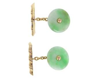 Pair of Green Jade Cufflinks