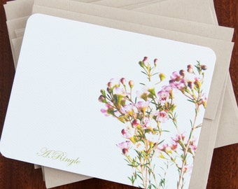 Stationery Card Set - Note Cards Stationary Set - Personalized - Wax Flowers
