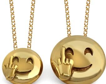 Middle Finger Emoji Pendant, 3D Middle Finger Emoji Jewelry, Bird Emoji Jewelry, Emoji Jewelry, 24K Gold Emoji Pendant