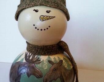 Hand Painted Snowman Gourd